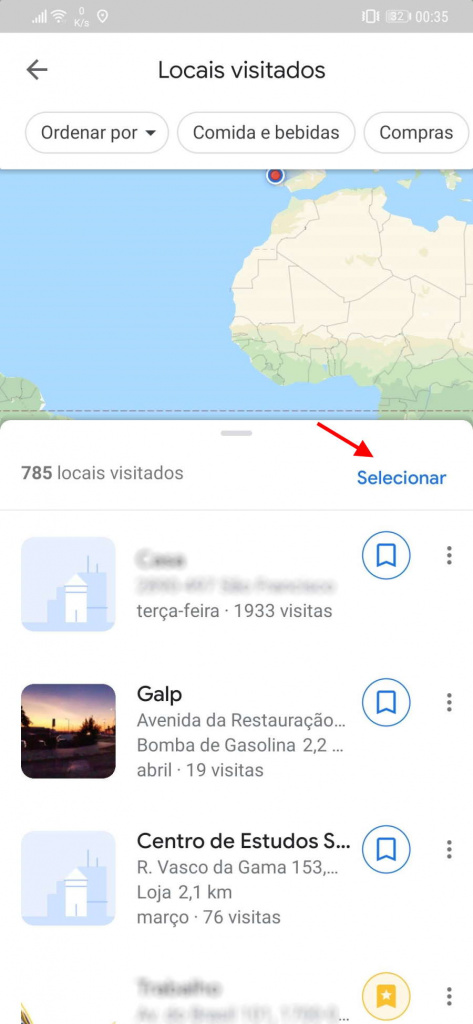 Google Maps visited places delete