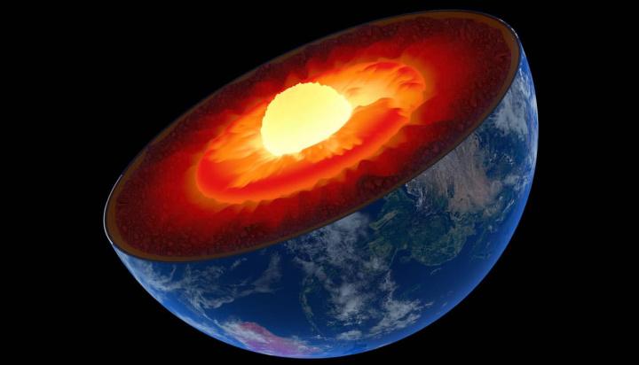 Imagem do interior da Terra com as camadas até ao núcleo