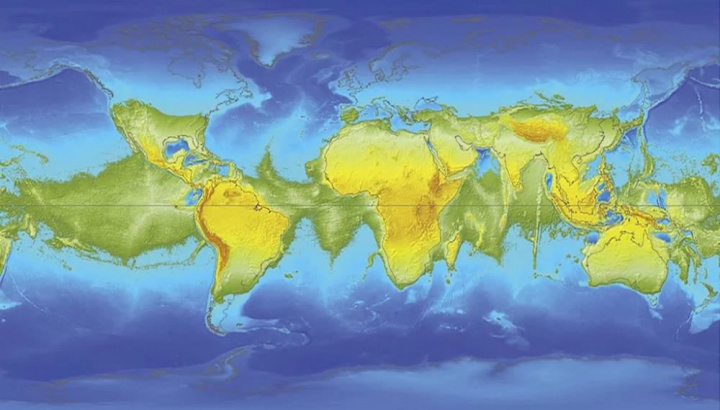 Imagem do hipotético megacontinente que ixistiria se a terra parasse de rodar