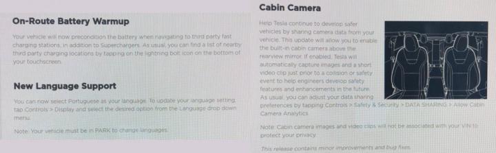 Imagem das notas de lançamento do firmware dos carros elétricos Tesla
