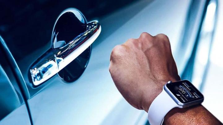 Imagem ilustração nova opção Carkey no smartwatch da Apple