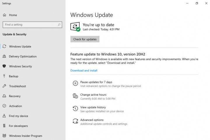 Windows 10 atualização 20H2 Microsoft