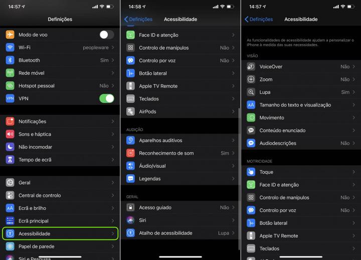 Imagem menus Acessibilidade no iOS 14