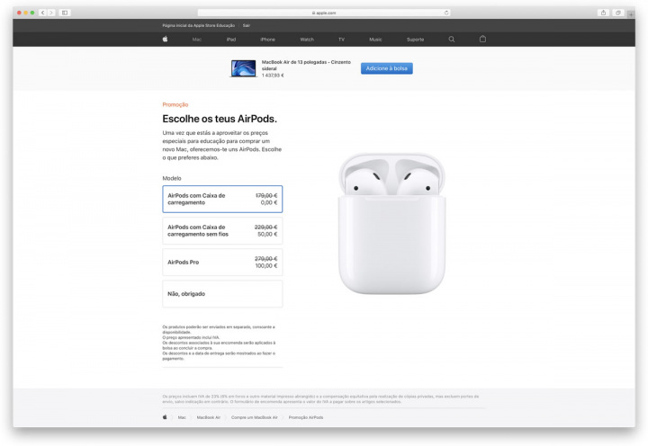 If you buy a Mac or iPad for university, Apple offers you AirPods