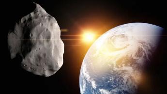 Ilustração de asteroide que passará pela Terra