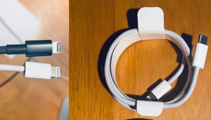 Imagem de cabo enterlaçado preto e branco para o novo iPhone 12