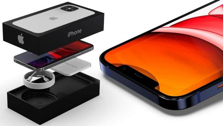 ilustração de como poderá ser o conteúdo da caixa do iPhone 12