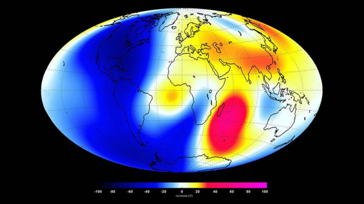 Ilustração do campo em densidade de fluxo magnético