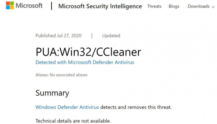 CCleaner Windows 10 Microsoft app registo