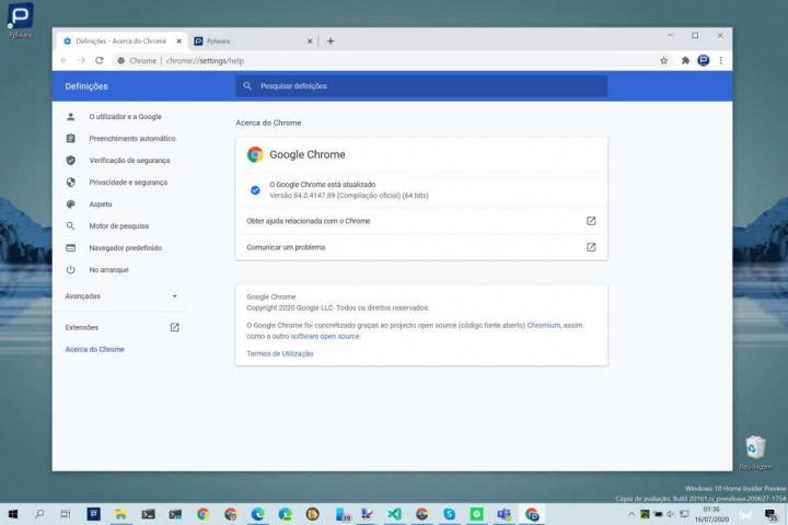 Chrome browser Google versão atualização