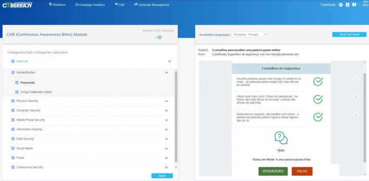 Cybeready - A Plataforma (automática) para formação sobre riscos cibernéticos