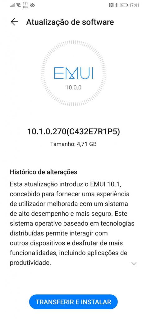 Huawei EMUI 10.1 smartphones atualização