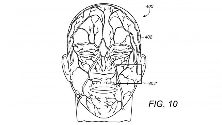 Imagem descritiva da patente para a leitura das veias para dispositivo de segurança da Apple