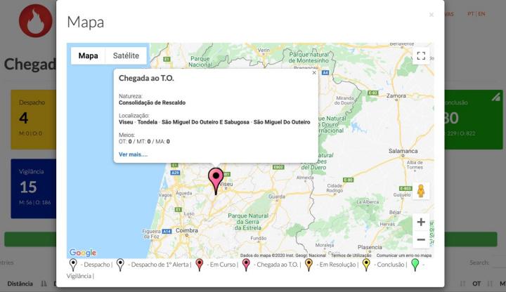 fogos.online: Veja, em tempo real, que fogos há em Portugal
