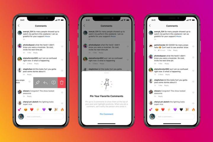 Três smartphones, com a rede social Instagram aberta, com exemplificação do afixar de comentários.