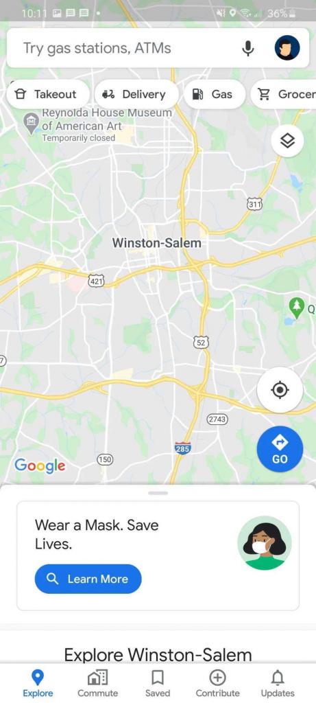Google Maps COVID-19 máscara proteção