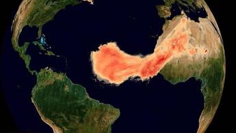 Imagem de niuvem de poeira vinda do Saara com o nome de Godzilla