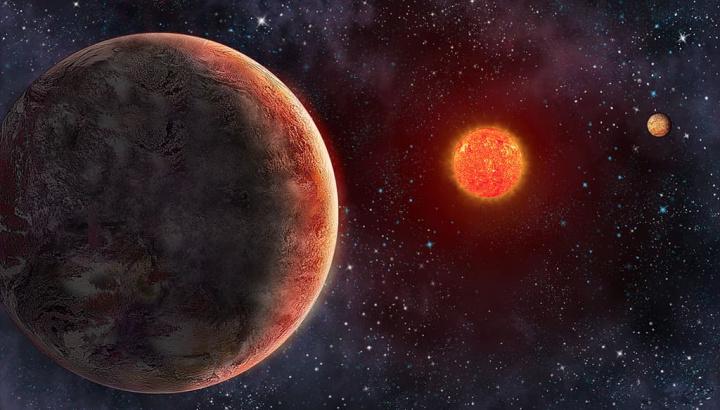 Ilustração planeta GJ 273b na orbita da estrela Luyten