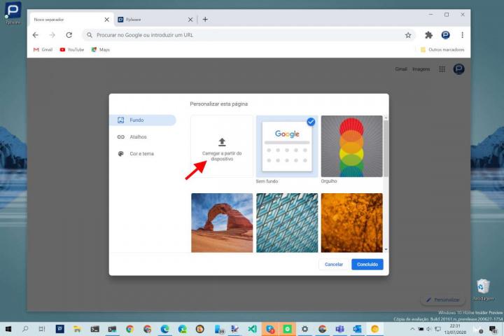 Chrome GIF separador Google browser