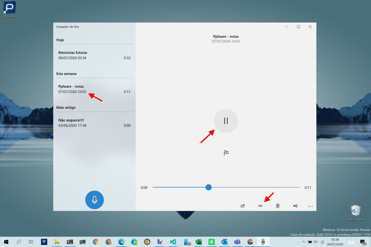 Windows 10 notas áudio voz ideias