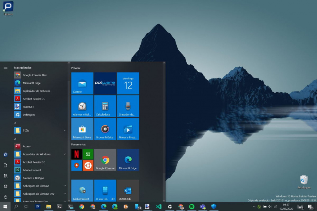 Menu Iniciar Windows 10 Microsoft testar Insiders