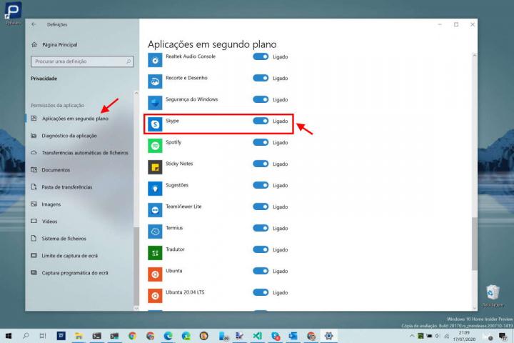 Skype Windows 10 Microsoft aplicações arranque