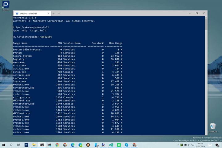 Windows 10 apps matar DOS PowerShell