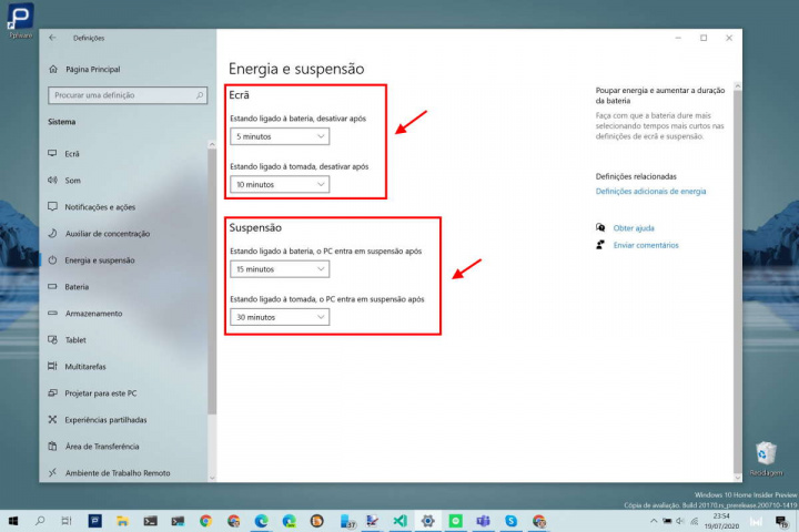 Windows 10 poupar energia ecrã suspensão