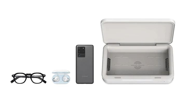 A caixa de carregamento wireless e esterilizadora da Samsung
