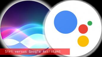 Imagem Google Assistant versus Apple Siri