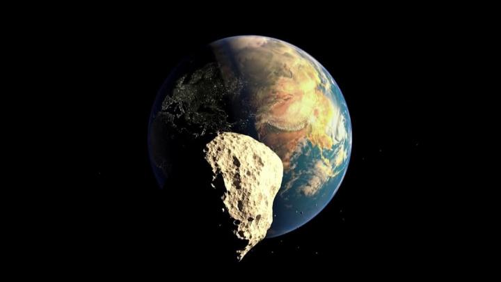 Ilustração de asteroide quem vem em direção à Terra