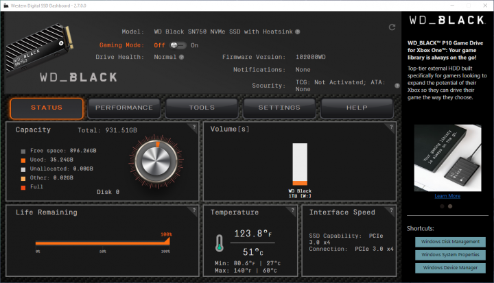 Western Digital SSD Dashboard
