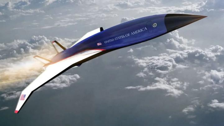 Imagem de conceito do novo avião Air Force One desenvolvido pela a Hermeus