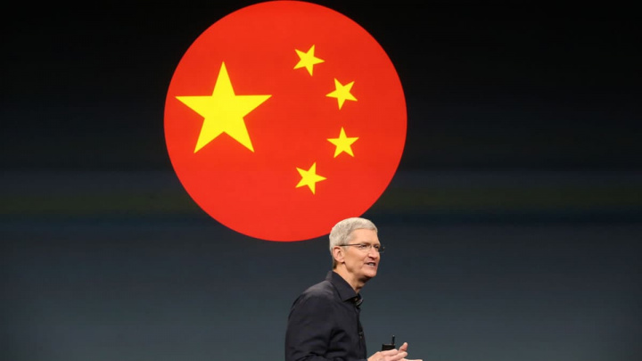 Imagem do CEO da Apple, Tim Cook, a falar da China
