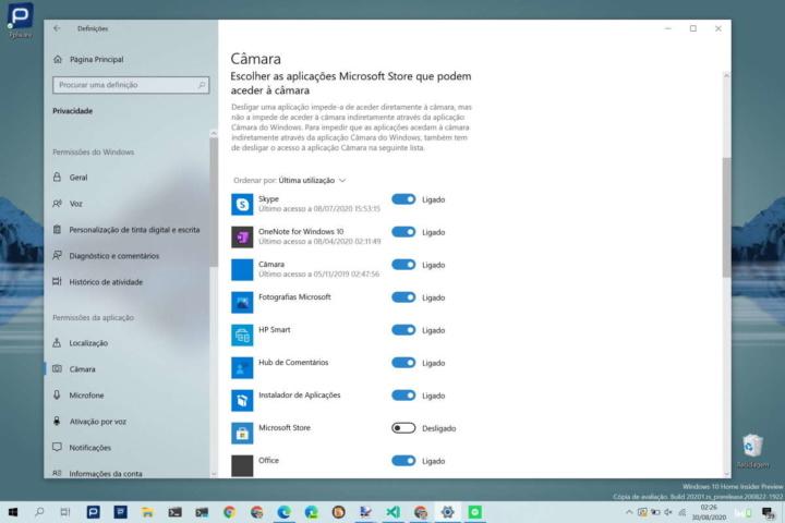 Windows 10 câmara desligar autorizar utilizadores