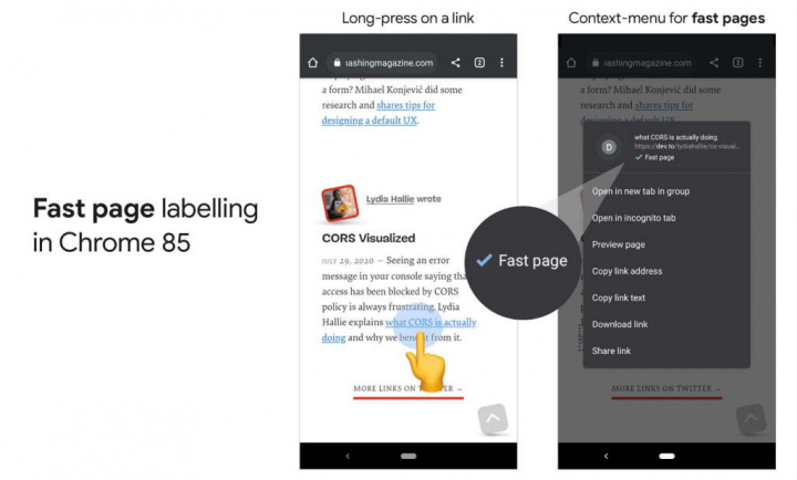 Chrome Android páginas rápidas Internet