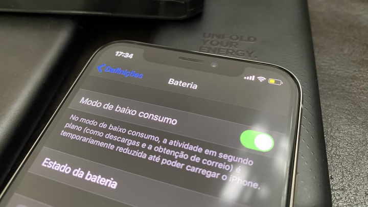 Imagem iPhone com indicação da qualidade da bateria