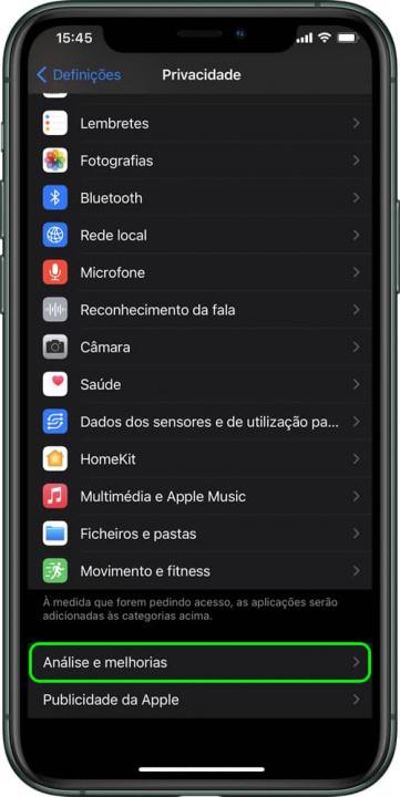 Imagem menu Privacidade para saber ciclos da bateria do iPhone