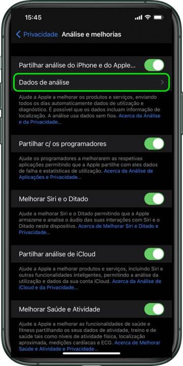 Imagem menu Definições para saber ciclos da bateria do iPhone
