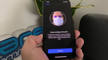 Ilustração técnica para usar máscara e ser identificado pelo Face ID no iPhone ou ipad