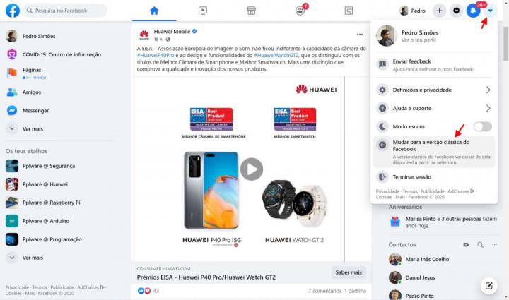 Facebook interface utilizadores imagem design