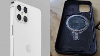 Imagem iPhoine 12 com imanes dentro junto ao logotipo para carregamento sem fios