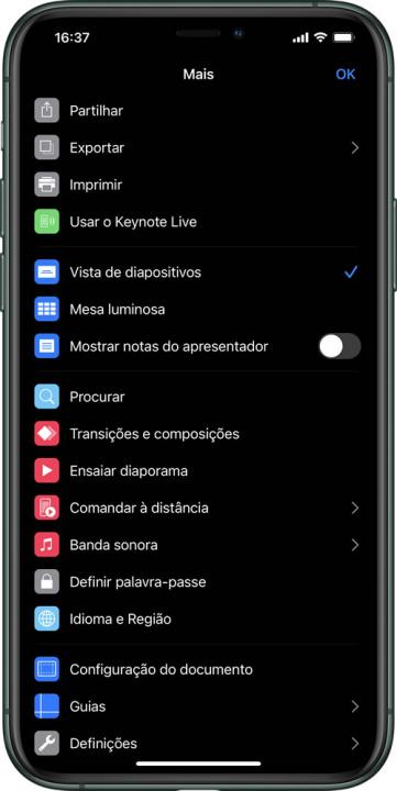 Imagem do menu no Keynote Live no iPhone