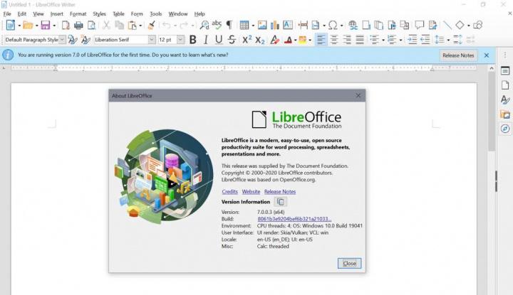 LibreOffice 7.0 com 400 mil downloads numa semana