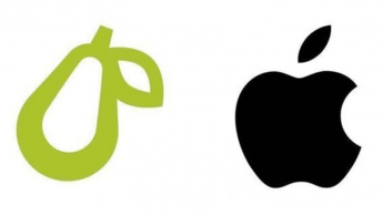 Imagem do logotipo da Apple e do logotipo da Prepear, a pera