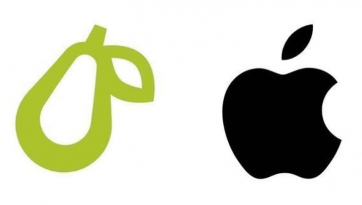 Imagem do logotipo da Apple e do logotipo da Prepear, a pera