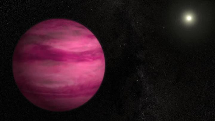 Imagem ilustração de um planeta cor-de-rosa mostrado pela NASA
