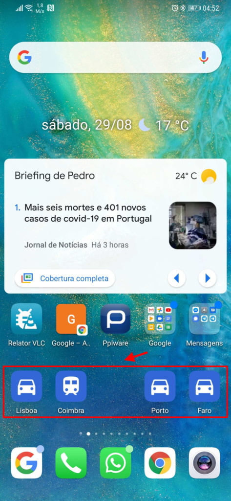 Google Maps atalhos Android locais