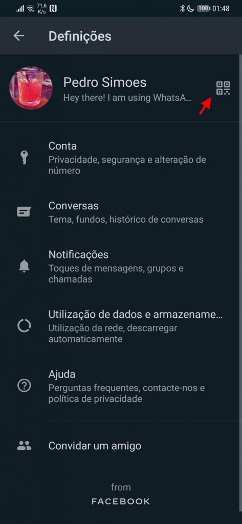 WhatsApp código QR partilha contactos