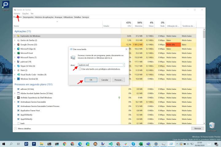 Windows 10 Explorador Gestor Tarefas processo